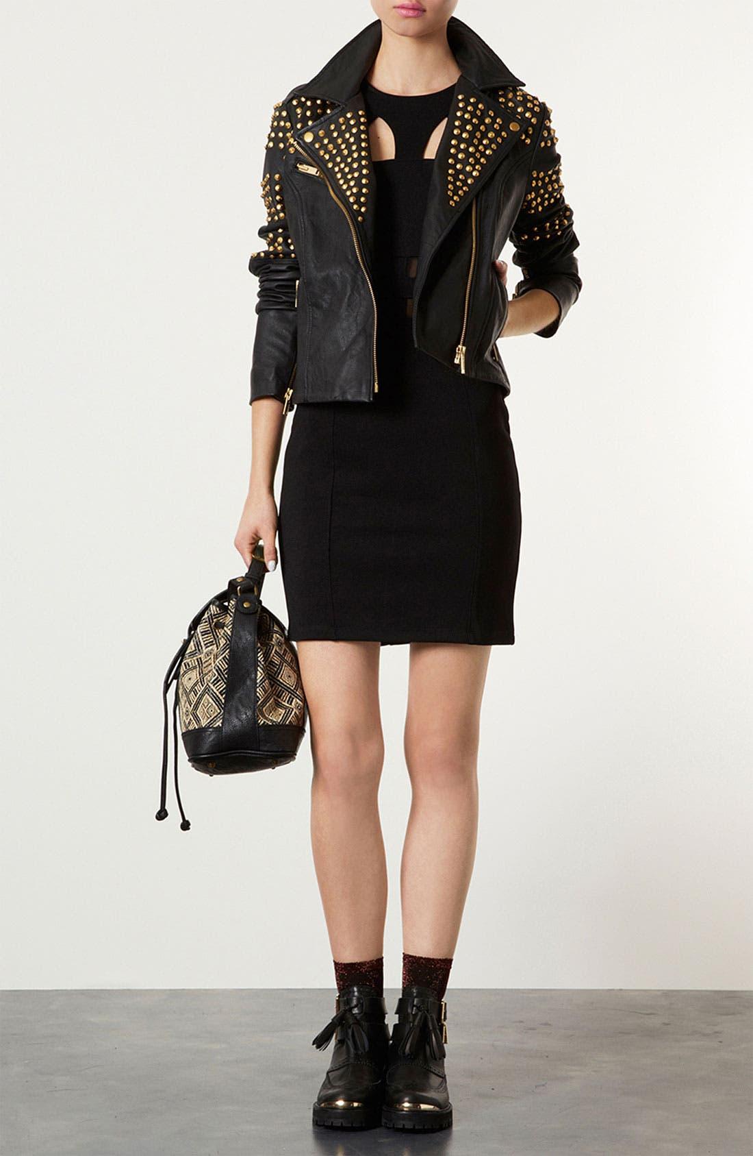 Main Image - Topshop Mesh & Bandage Body-Con Dress