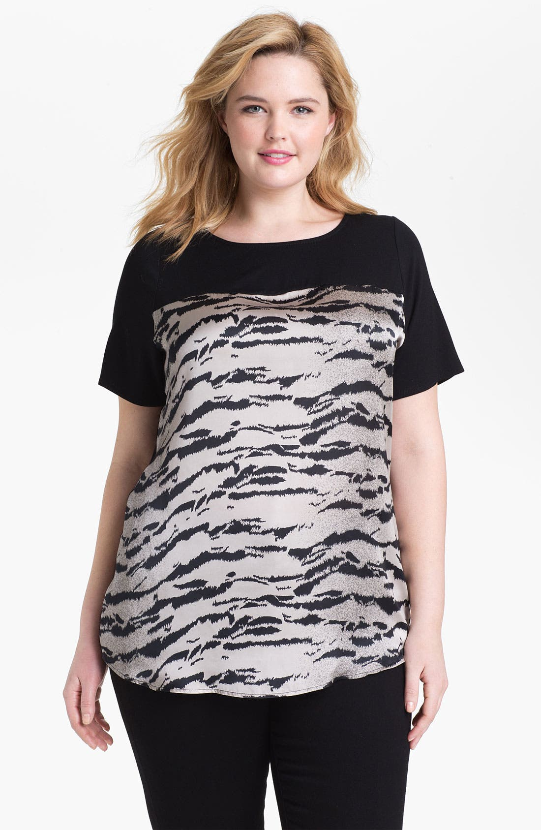 Alternate Image 1 Selected - Evans Tiger Print Blouse (Plus Size)
