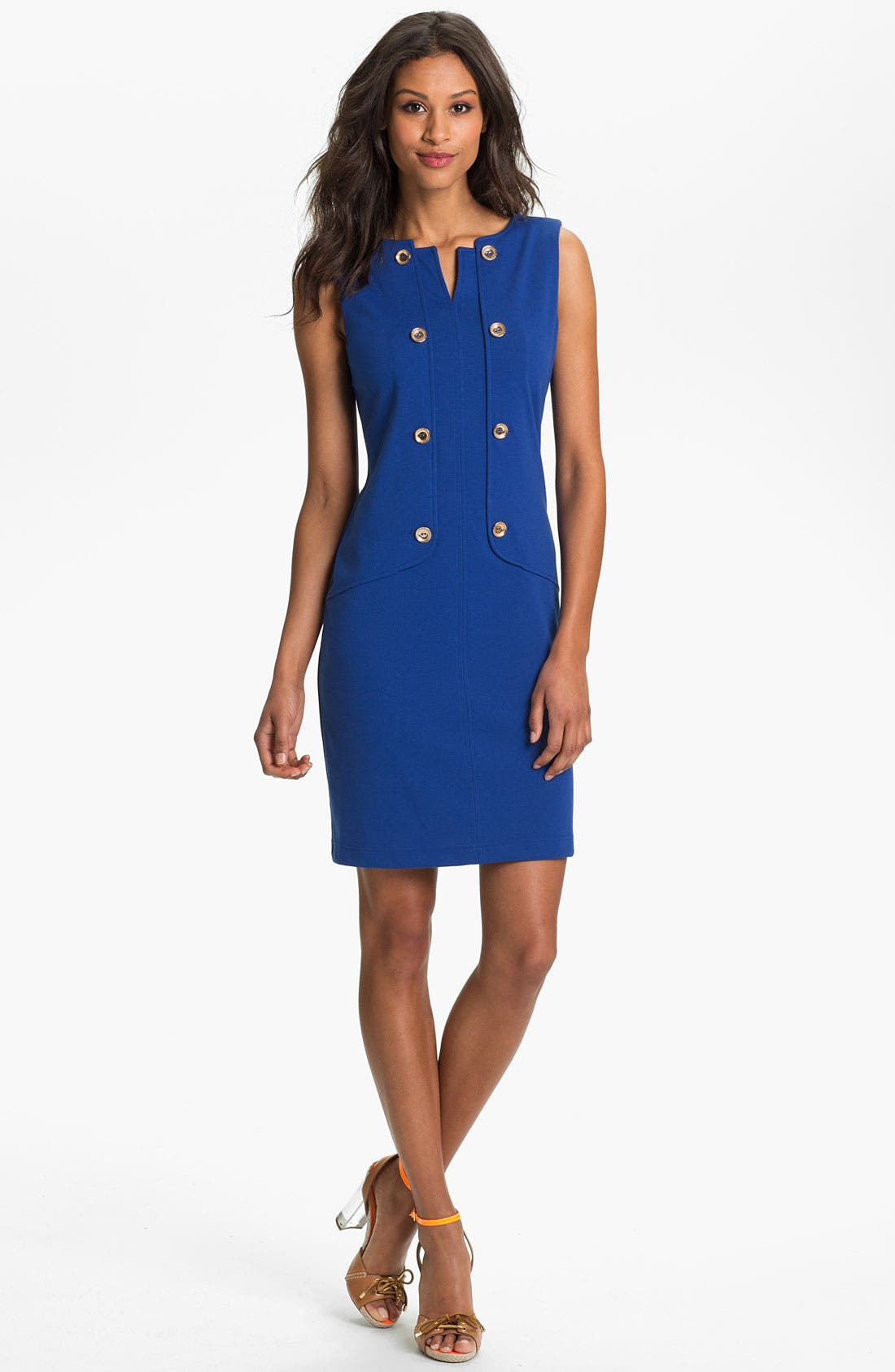 Main Image - Ellen Tracy Button Detail Ponte Knit Sheath