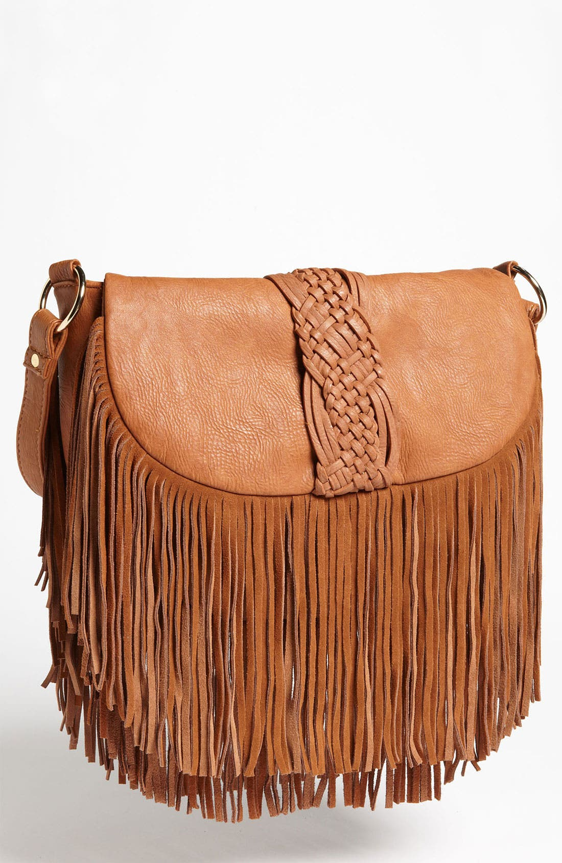 Main Image - Street Level Woven Fringe Crossbody Bag
