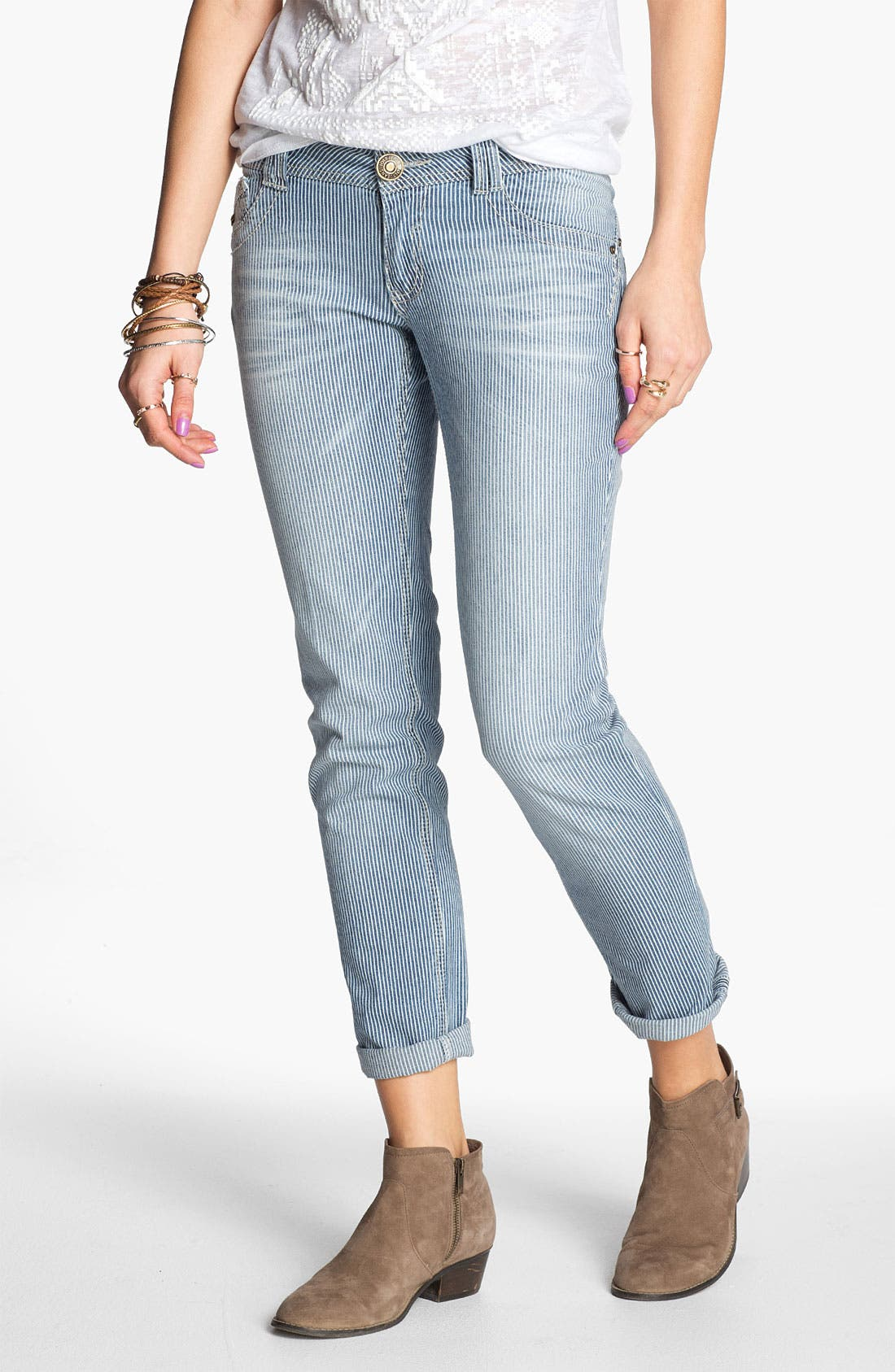 Alternate Image 1 Selected - Jolt 'Railroad Stripe' Crop Skinny Jeans (Juniors)