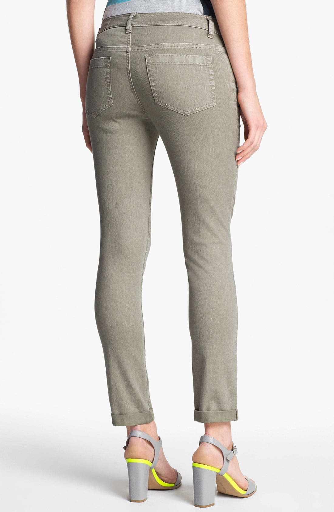 Alternate Image 4  - Two by Vince Camuto 'Shorty' Skinny Crop Jeans (Washed Olive)