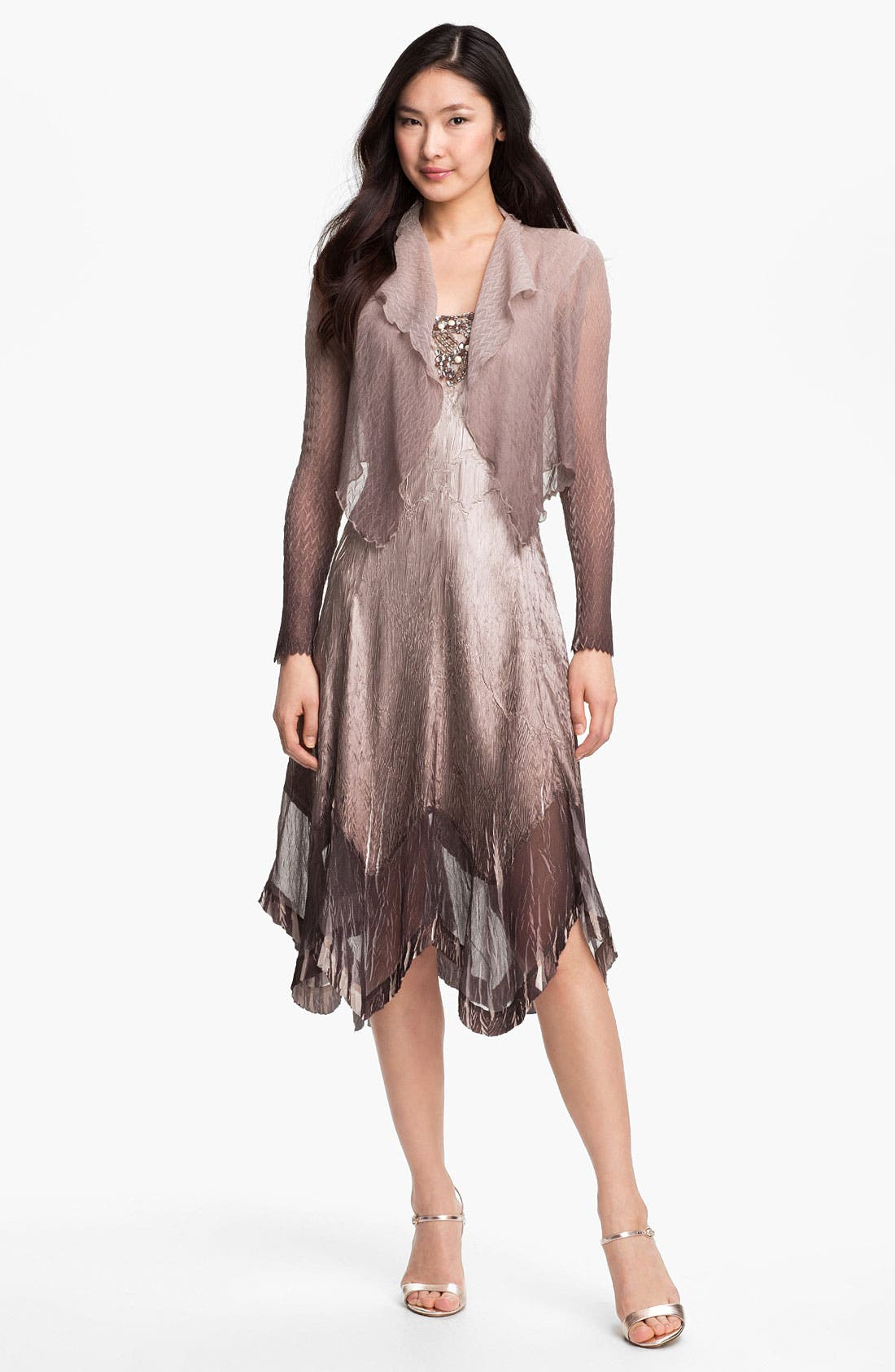 Main Image - Komarov Embellished Charmeuse Dress & Jacket