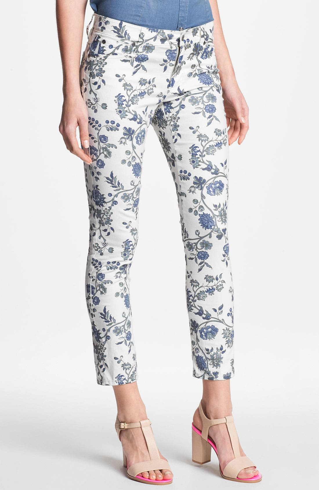 Main Image - Two by Vince Camuto Floral Ankle Jeans (New Ivory)
