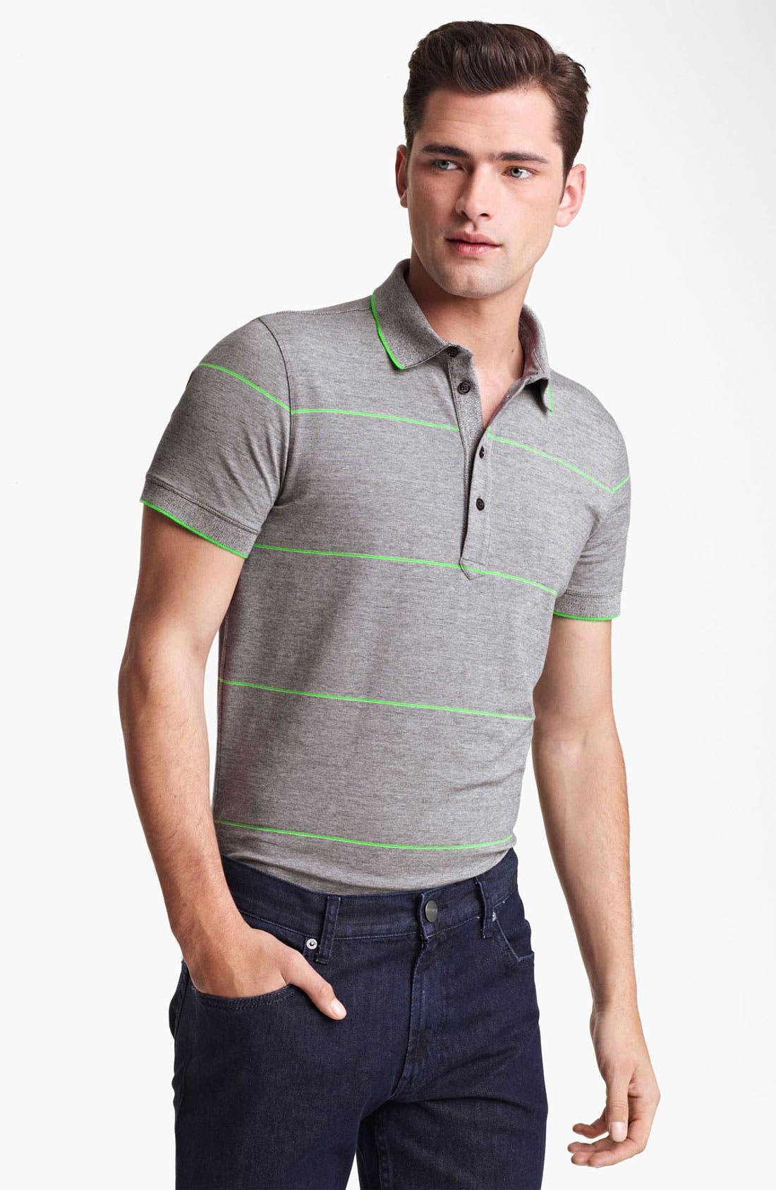 Main Image - Armani Collezioni Stripe Jersey Polo