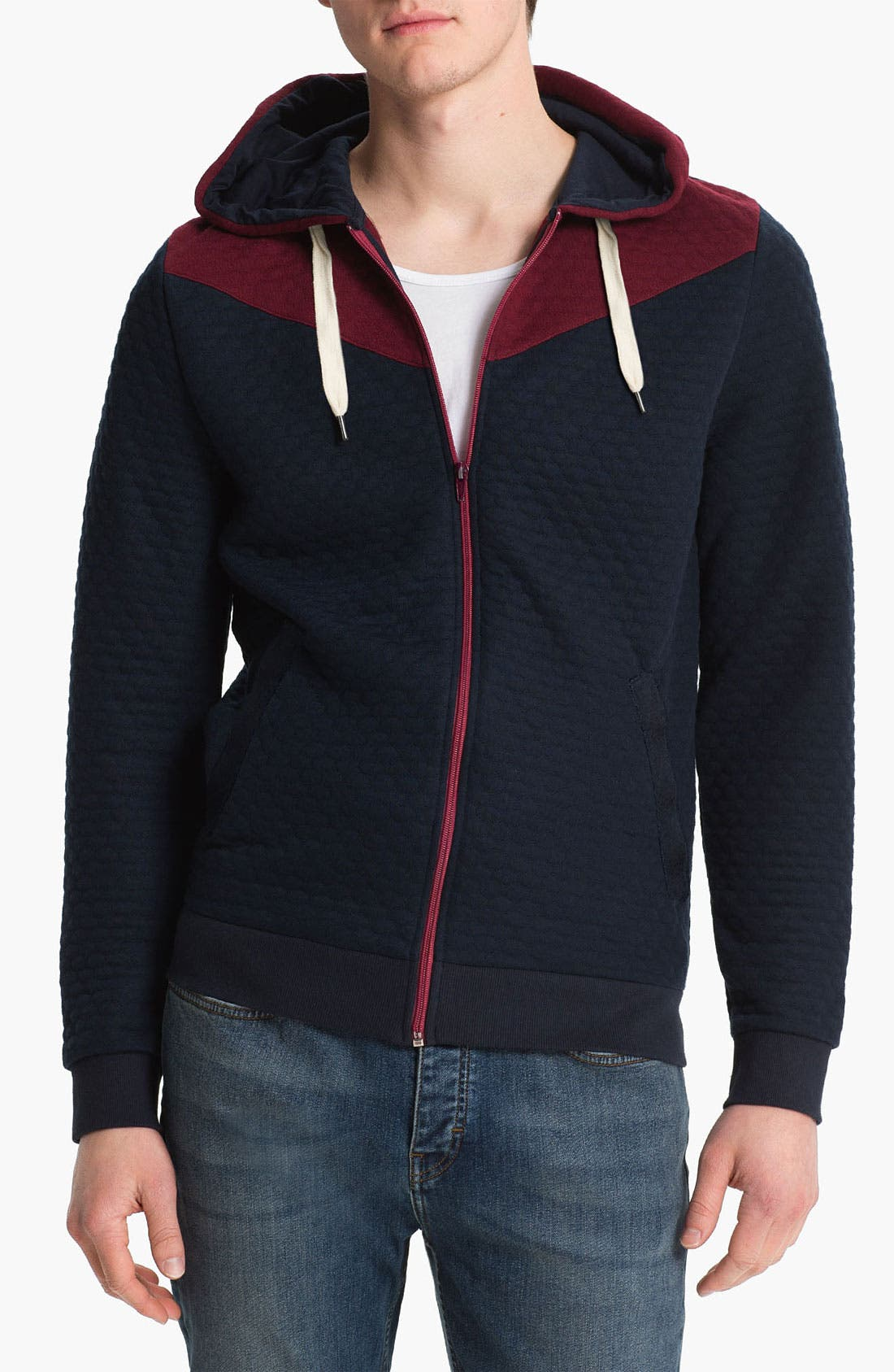 Alternate Image 1 Selected - Topman 'Bandai' Quilted Hoodie