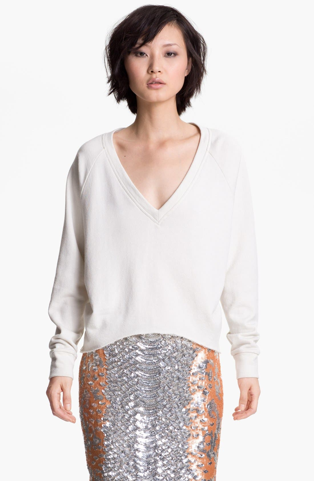 Alternate Image 1 Selected - Haute Hippie Chiffon Back Crop Sweatshirt