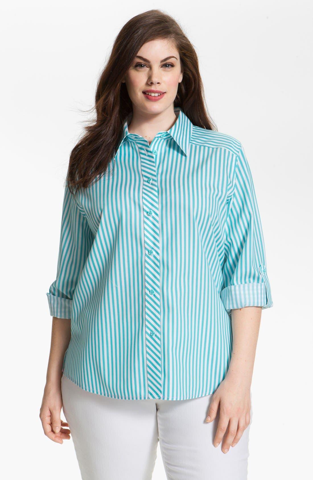 Alternate Image 1 Selected - Foxcroft Stripe Shaped Cotton Shirt (Plus Size)