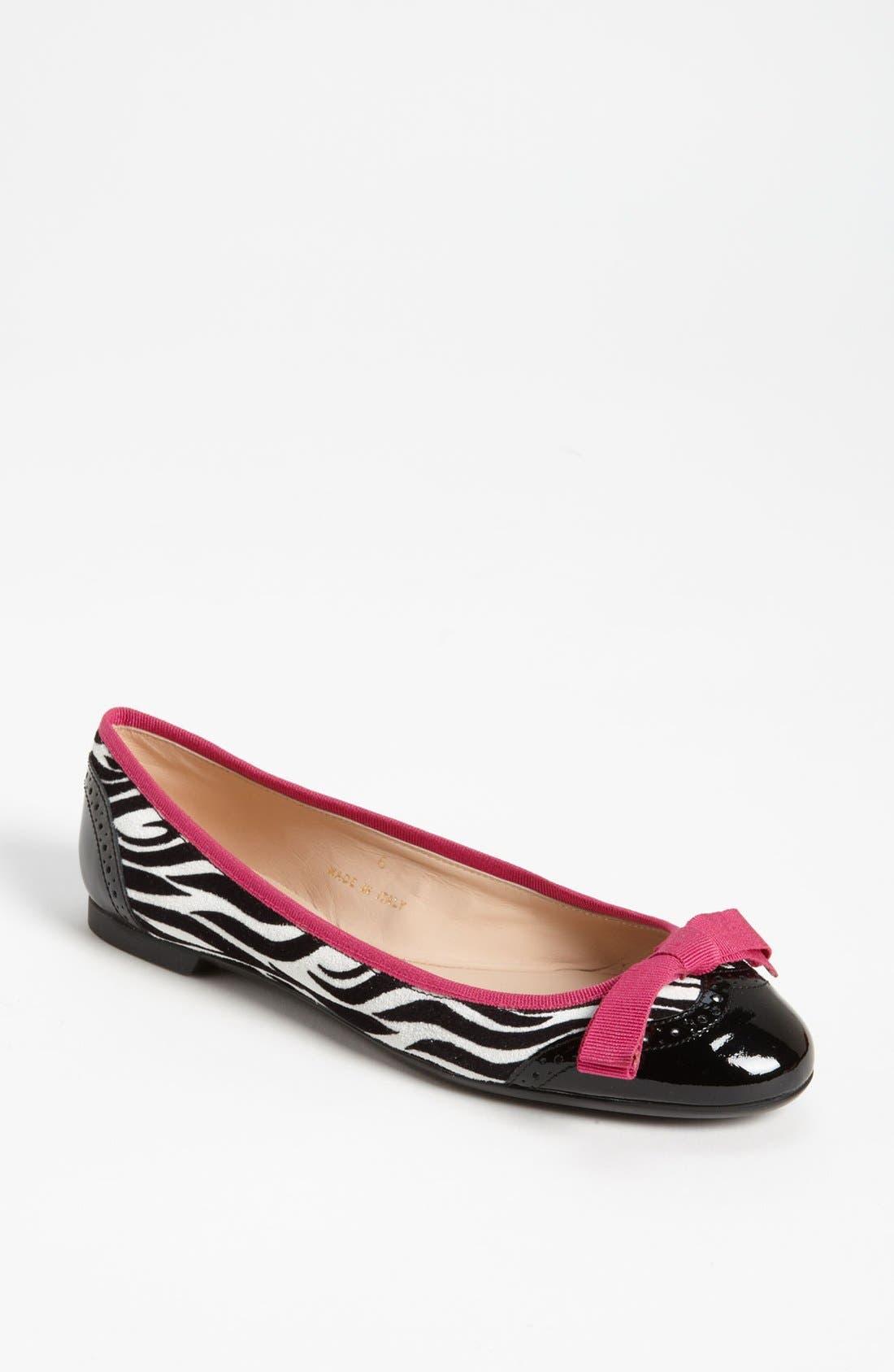 Main Image - Sweet Ballerina 'Biancospino' Zebra Print Ballet Flat