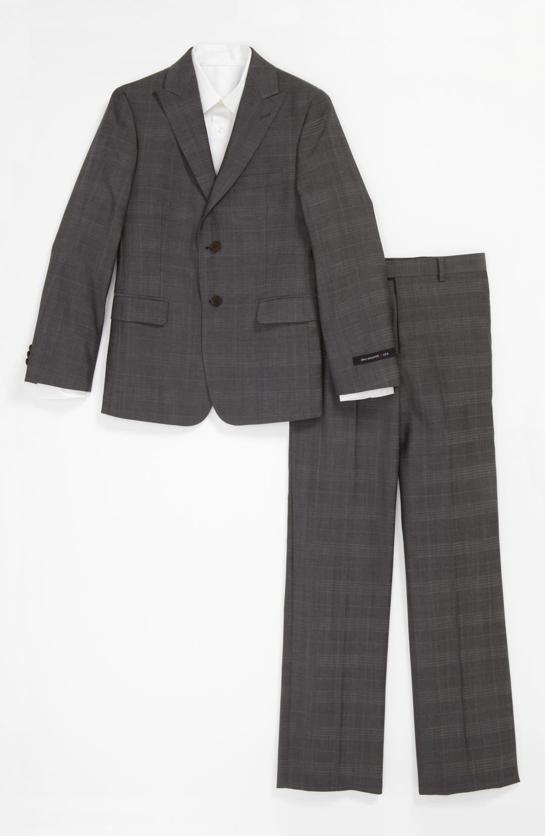 Alternate Image 1 Selected - John Varvatos Star USA Check Wool Suit (Big Boys)