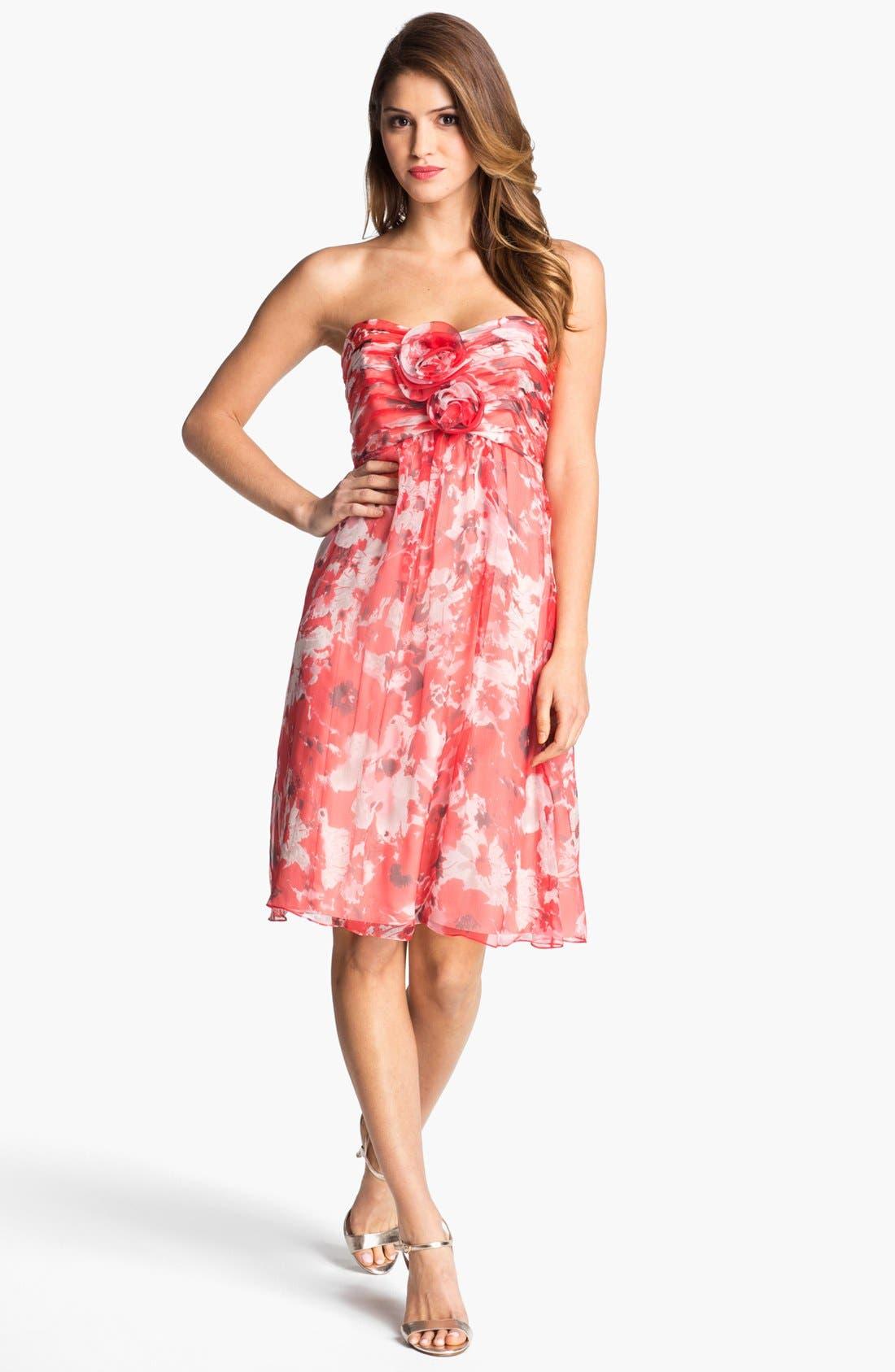 Alternate Image 1 Selected - Amsale 'Amore' Print Silk Chiffon Dress