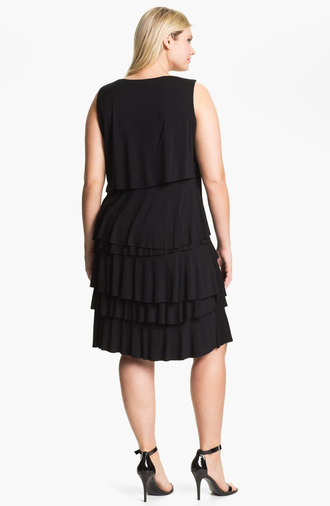 Alternate Image 2  - Calvin Klein Tiered Ruffle Jersey Dress (Plus Size)