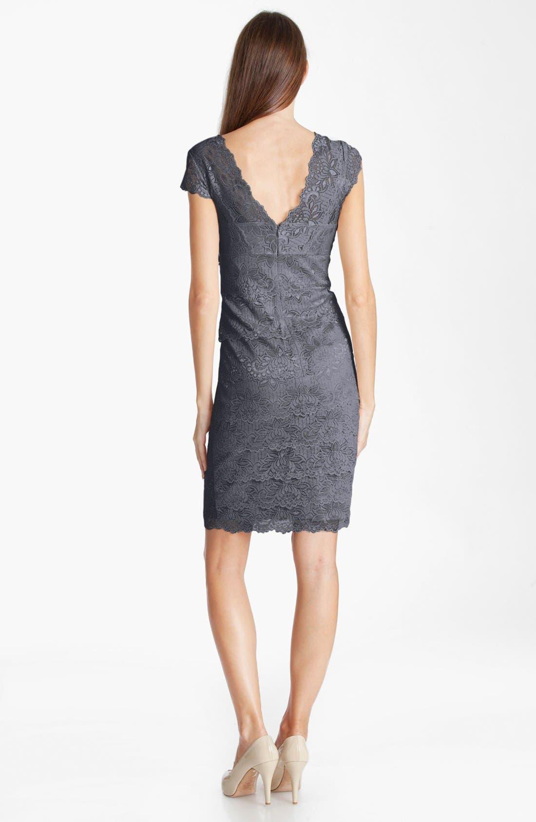Alternate Image 2  - JS Collections Layered Lace Sheath Dress (Petite)