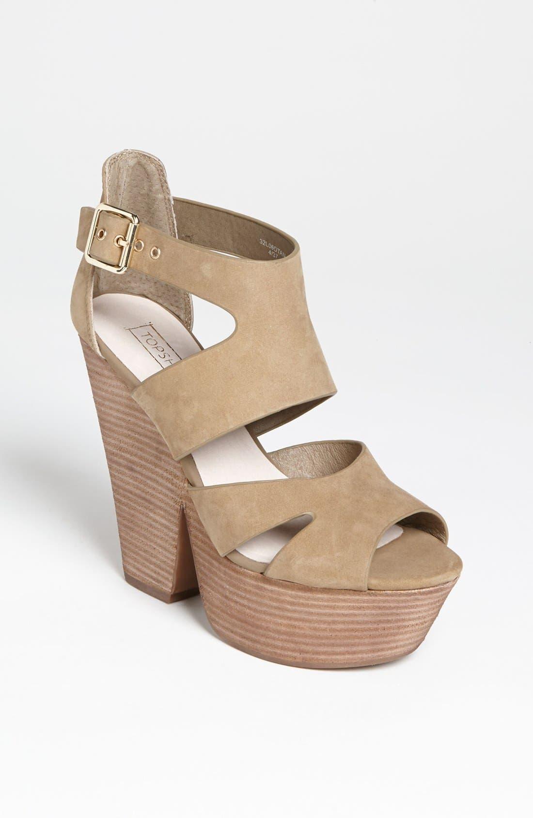 Alternate Image 1 Selected - Topshop 'Lanie' High Vamp Cutout Sandal