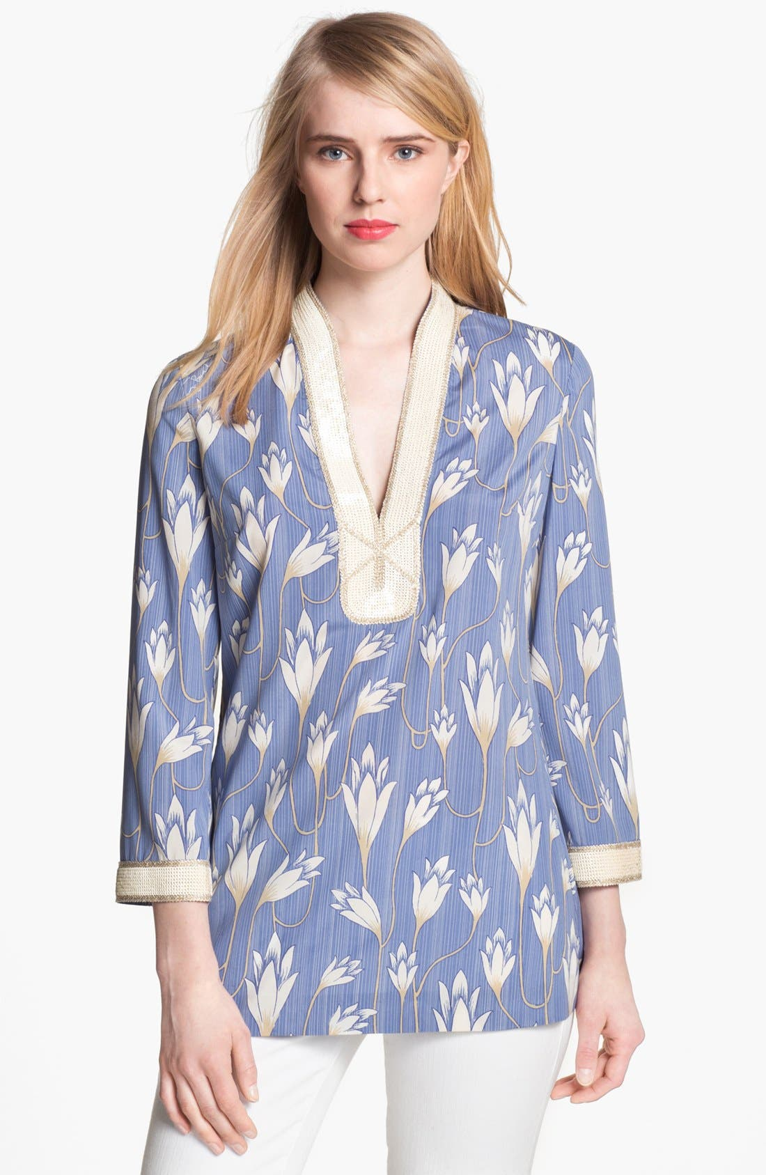 Main Image - Tory Burch 'Sabrina' Stretch Silk Tunic