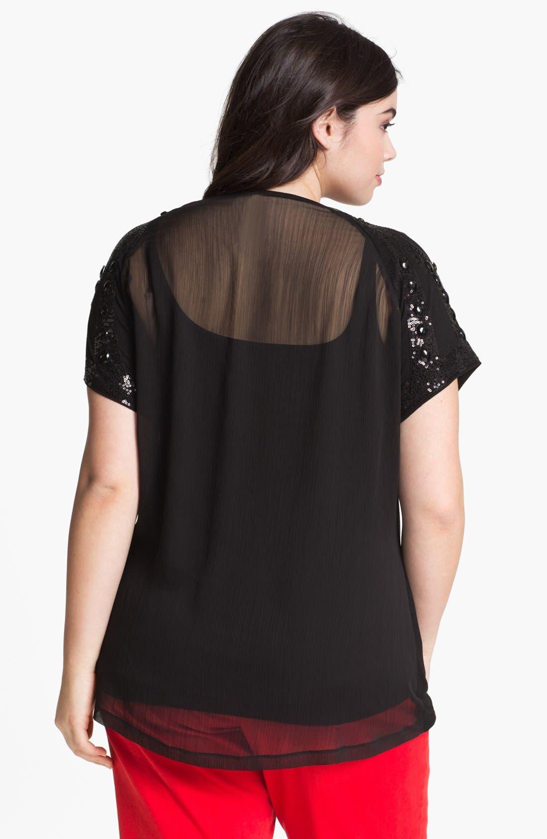 Alternate Image 2  - Kische Sheer Back Embellished Top (Plus) (Online Only)
