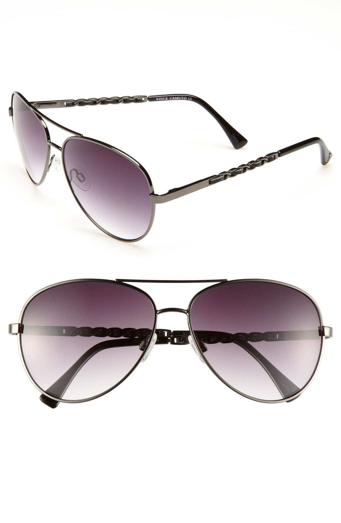 Main Image - Vince Camuto Metal & Faux Leather 60mm Aviator Sunglasses