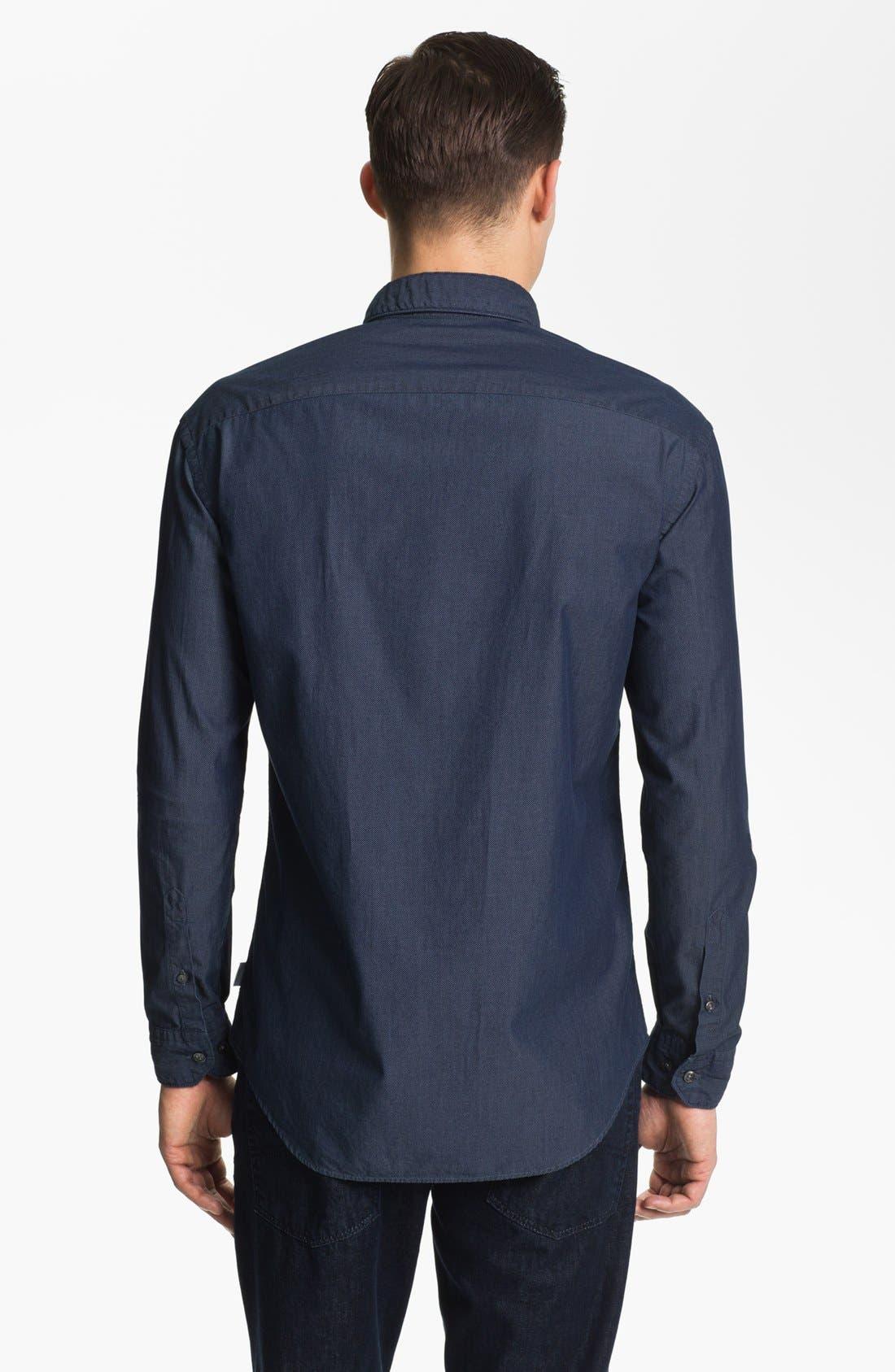 Alternate Image 2  - Armani Collezioni Micro Check Cotton Sport Shirt