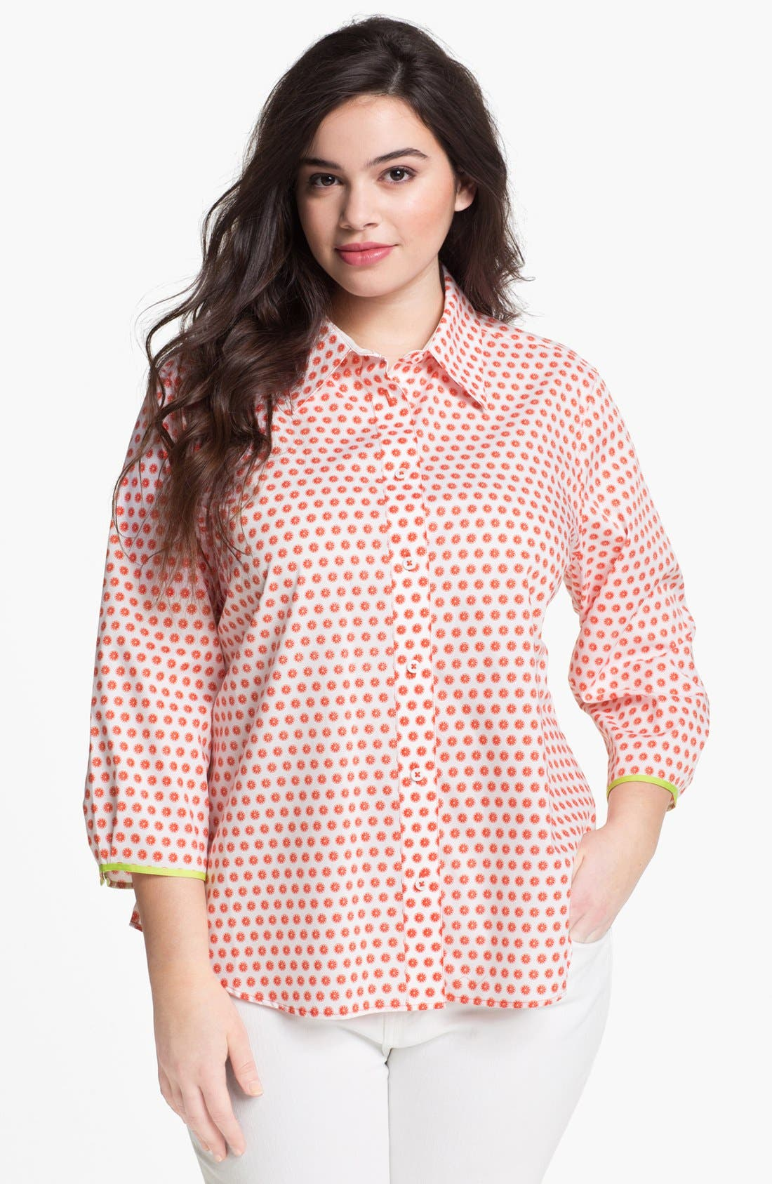 Alternate Image 1 Selected - Foxcroft Print Shaped Cotton Shirt (Plus Size)