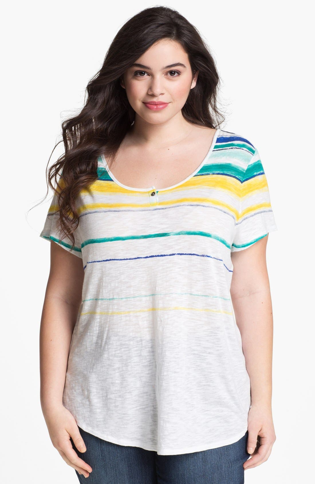 Alternate Image 1 Selected - Lucky Brand 'Charleigh' Stripe Tee (Plus Size)