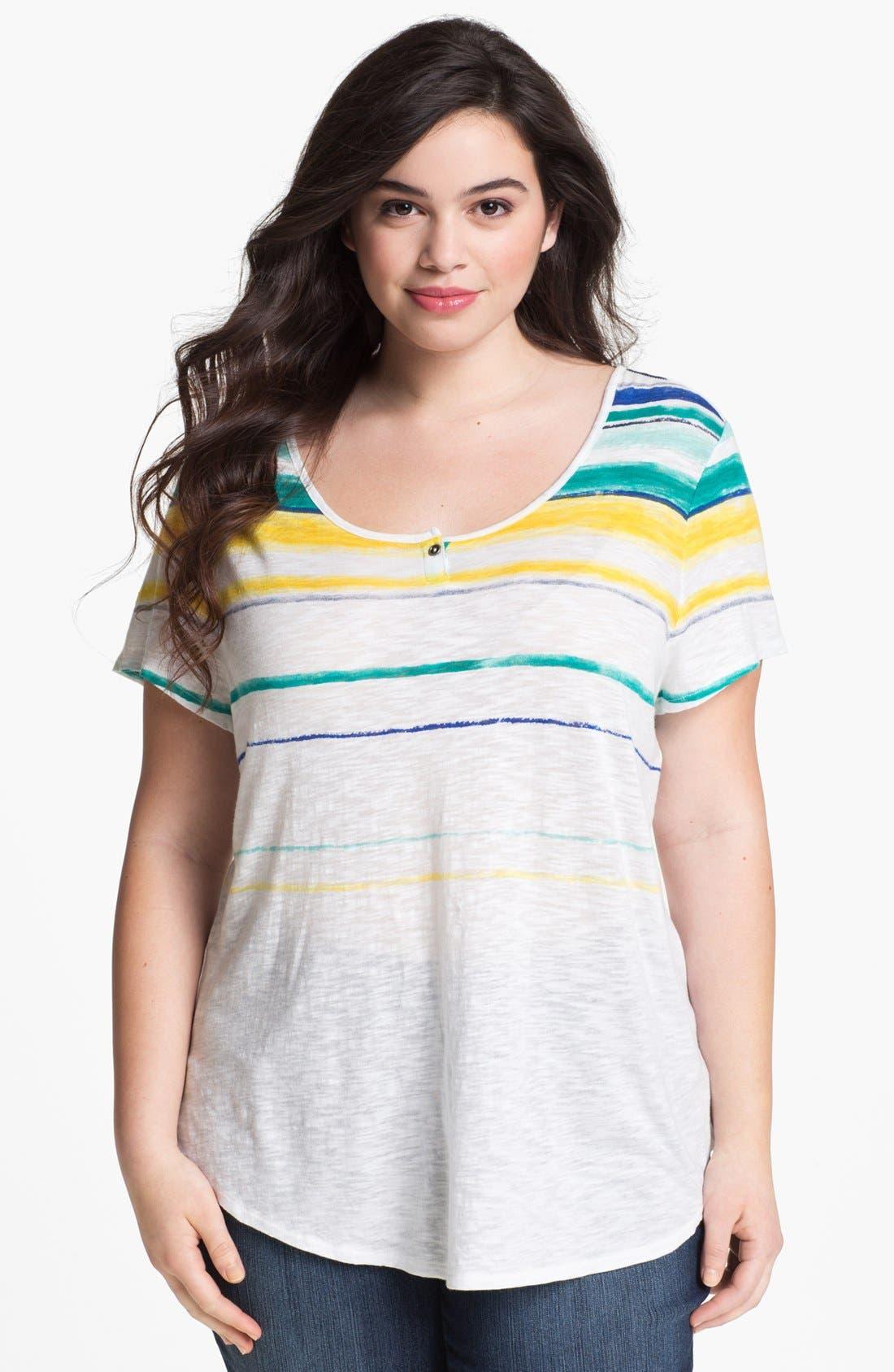 Main Image - Lucky Brand 'Charleigh' Stripe Tee (Plus Size)