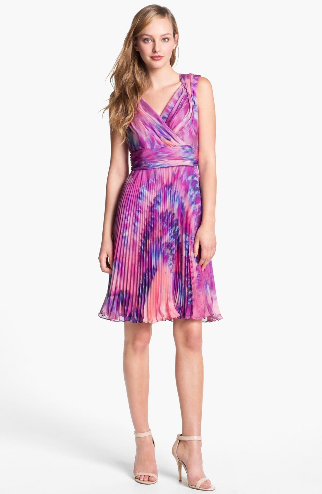 Alternate Image 1 Selected - Suzi Chin for Maggy Boutique Pleated Print Chiffon Dress