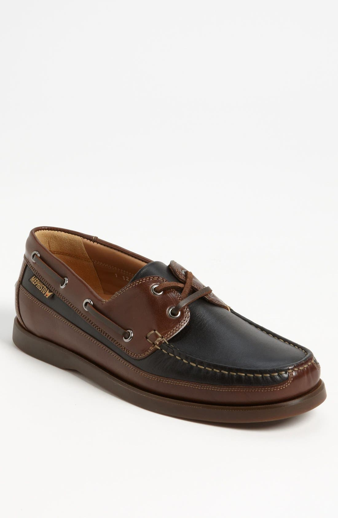 mephisto boating water resistant leather boat shoe
