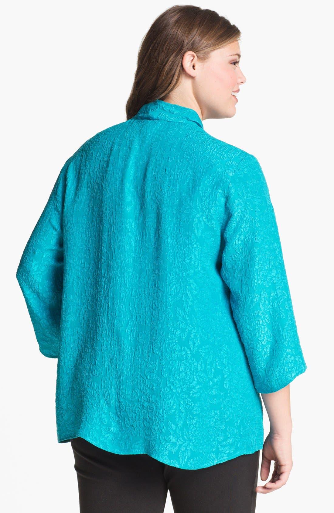 Alternate Image 2  - Citron Embossed Silk Jacket (Plus)
