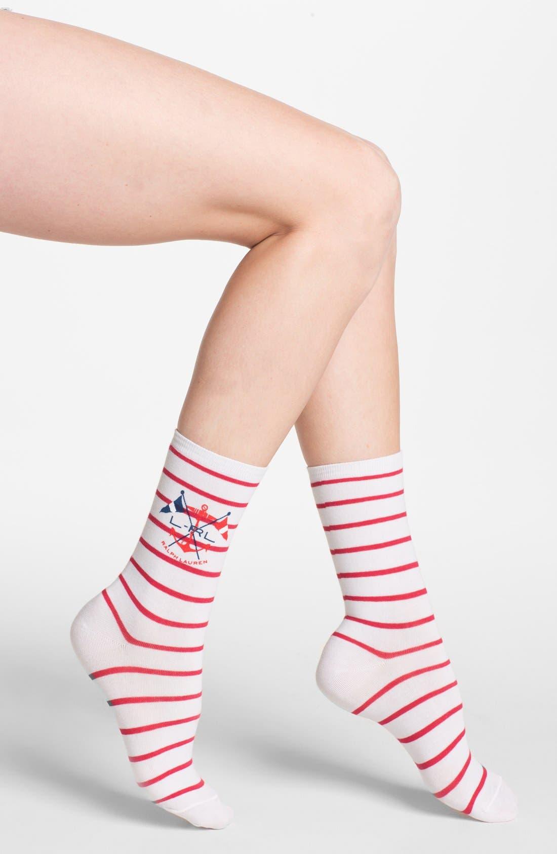 Main Image - Ralph Lauren Anchor Stripe Crew Socks