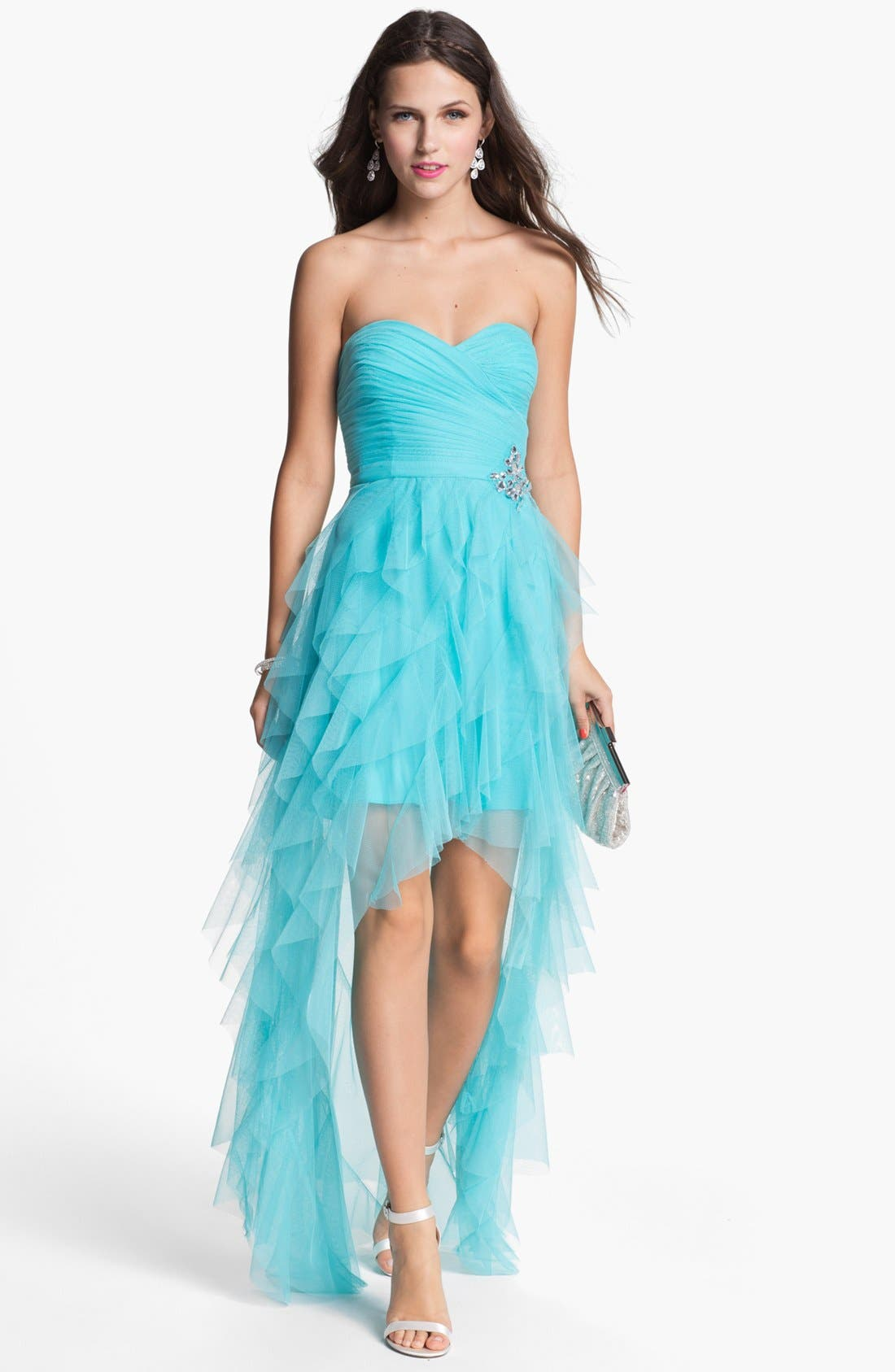 Alternate Image 1 Selected - Hailey Logan Bandage Back High/Low Tulle Gown (Juniors)