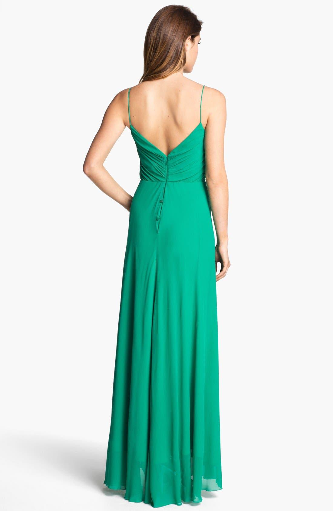 Alternate Image 2  - Nicole Miller Draped High/Low Chiffon Dress