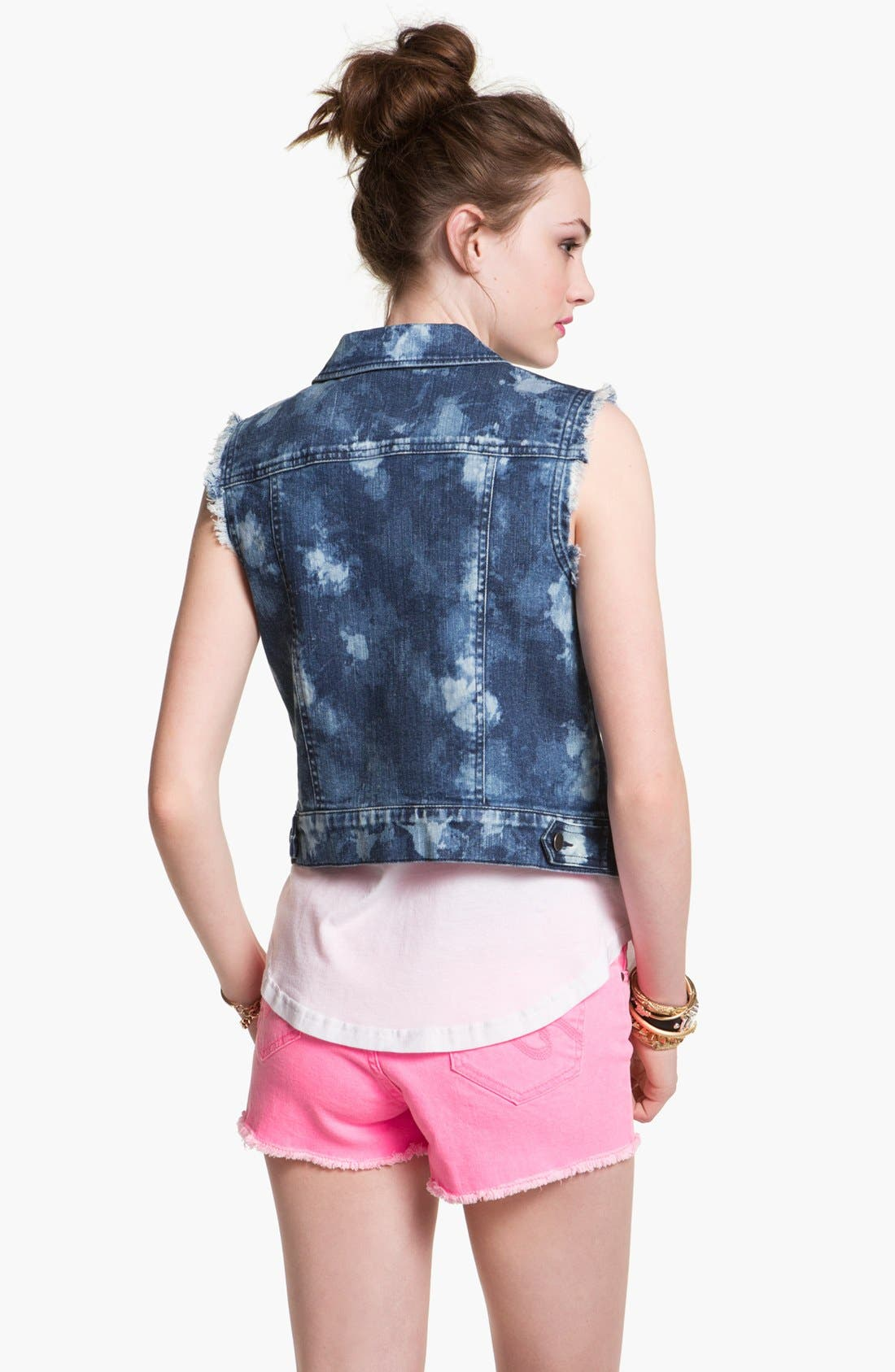 Alternate Image 2  - Rubbish Bleach Splashed Denim Vest (Juniors)