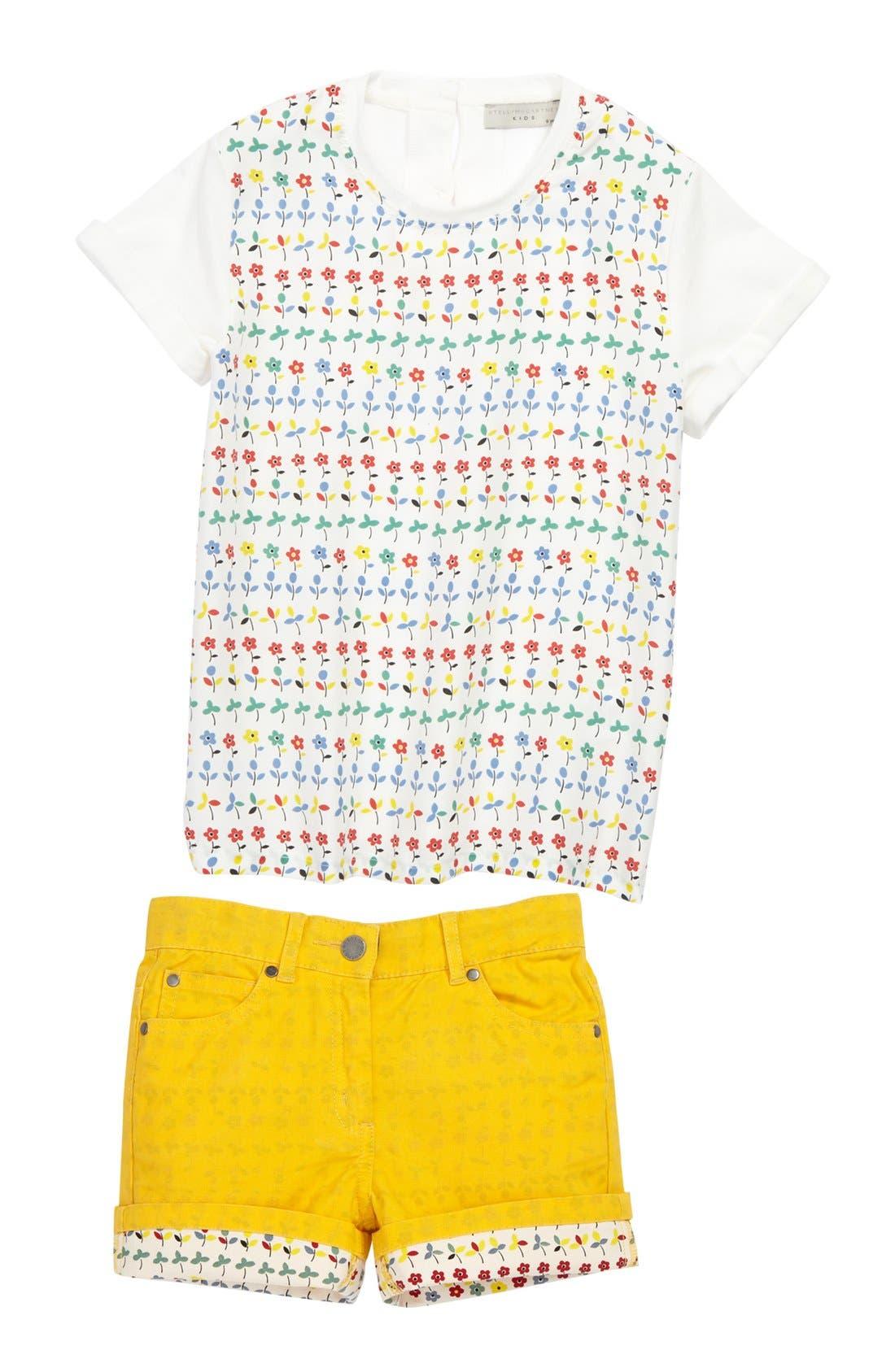 Alternate Image 1 Selected - Stella McCartney Tee & Shorts (Toddler, Little Girls & Big Girls)
