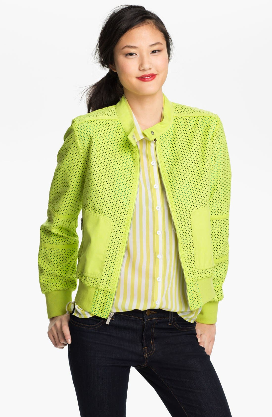 Alternate Image 1 Selected - Kenneth Cole New York Perforated Bomber Jacket