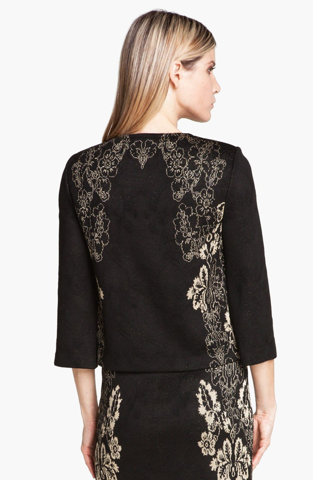 Alternate Image 2  - St. John Collection Floral Jacquard Knit Jacket