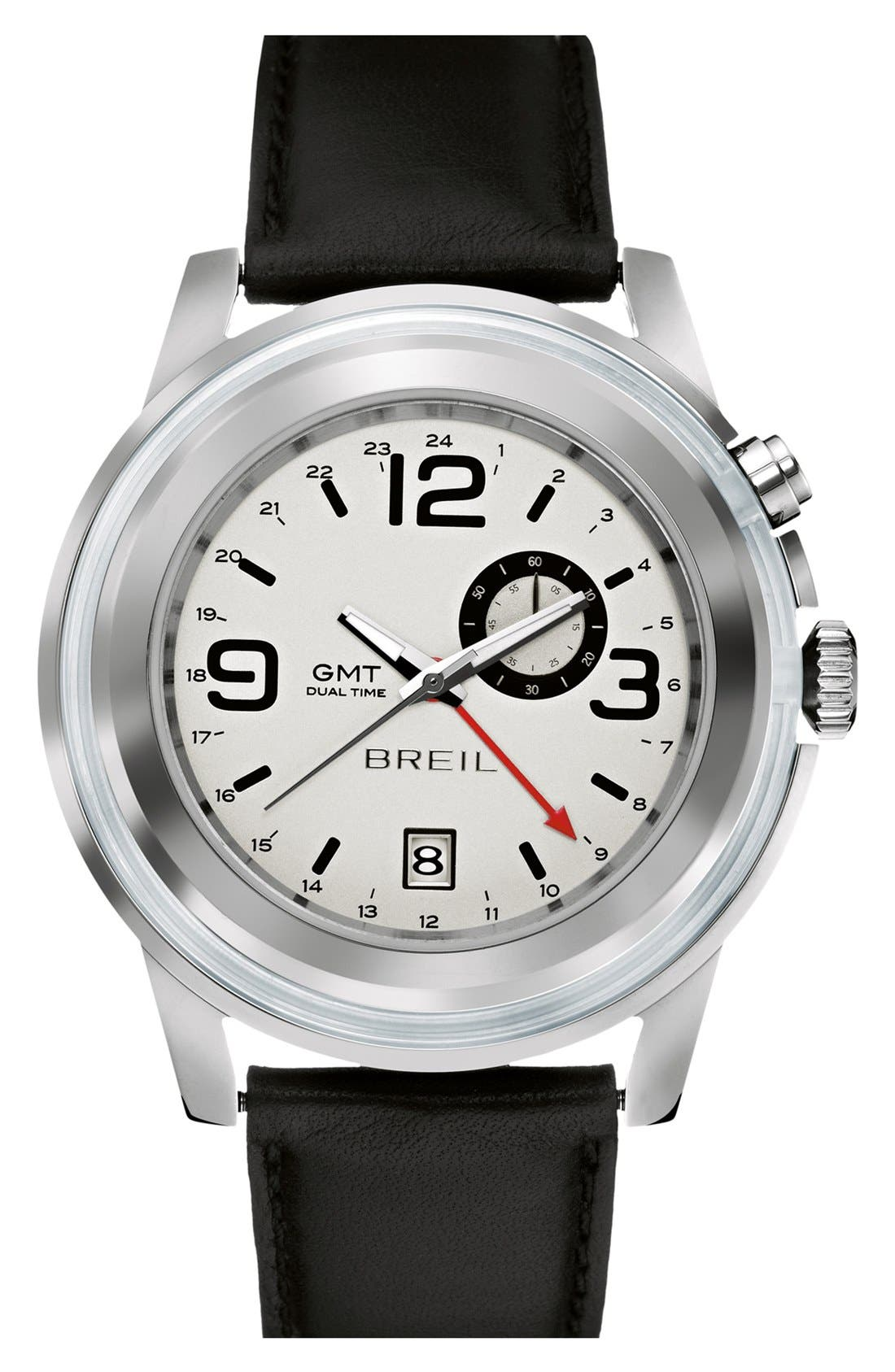 Alternate Image 1 Selected - Breil 'Orchestra' Round Leather Strap Watch, 45mm