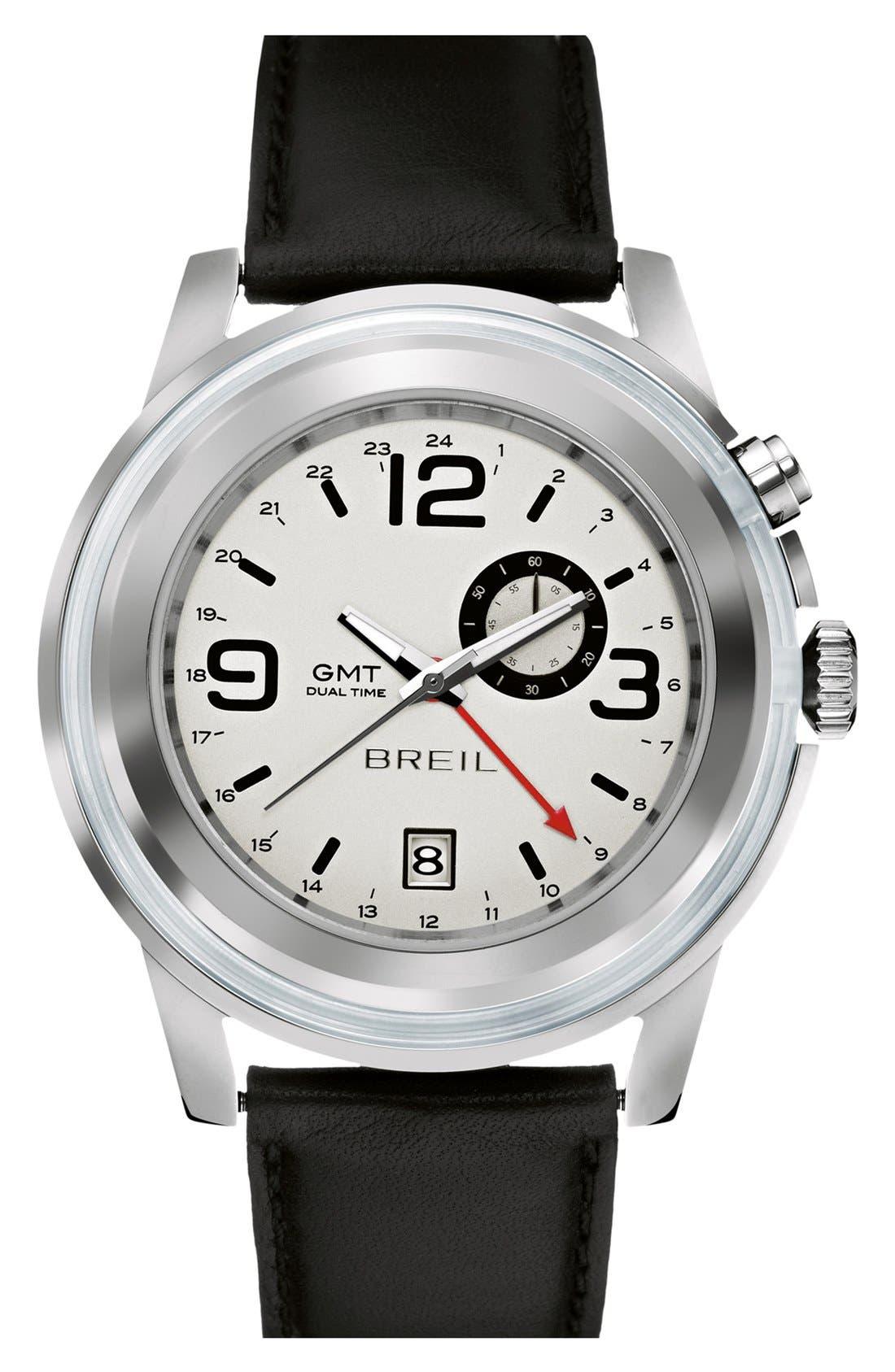 Main Image - Breil 'Orchestra' Round Leather Strap Watch, 45mm