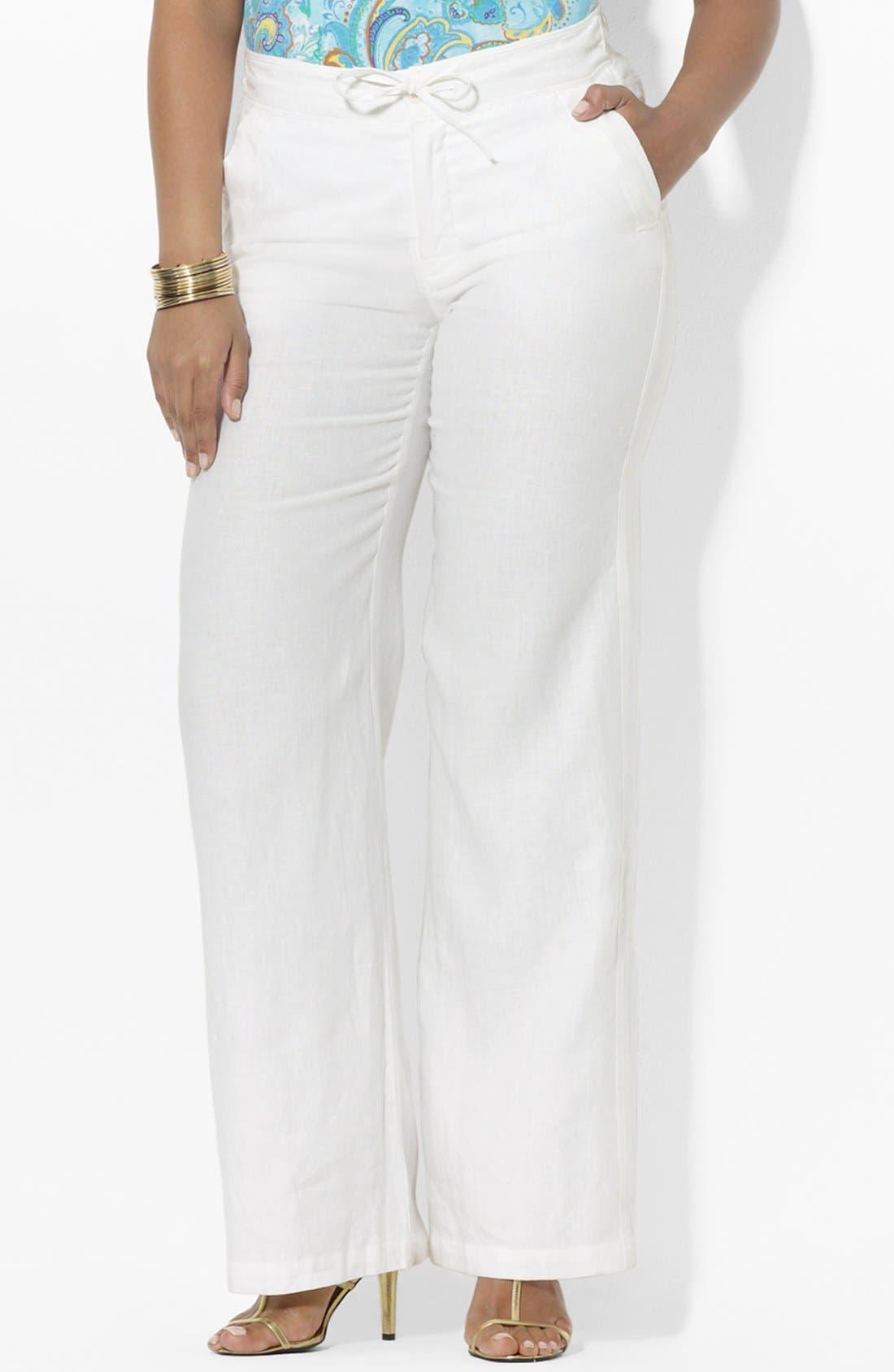 Alternate Image 1 Selected - Lauren Ralph Lauren Drawstring Linen Pants (Plus)