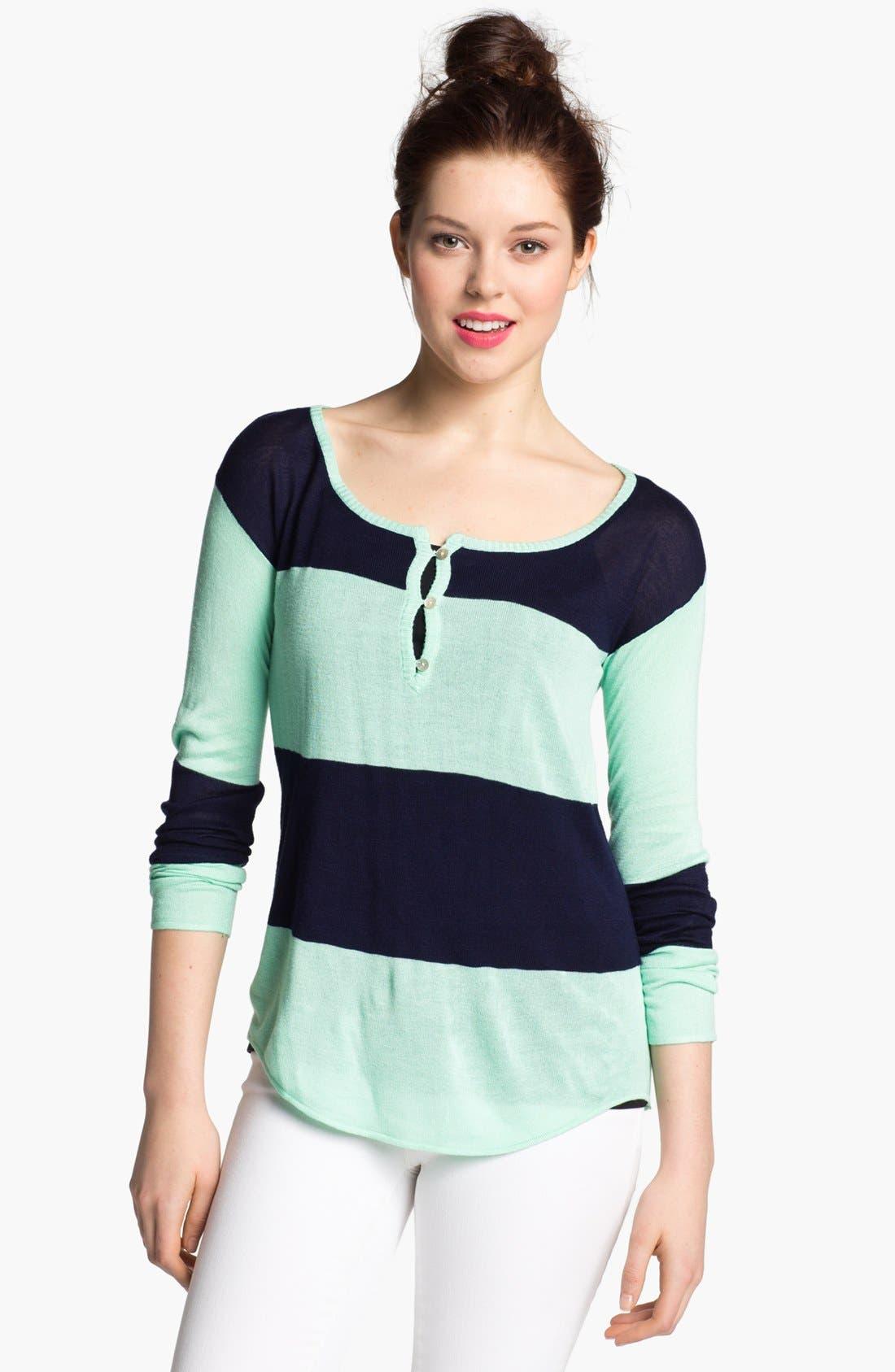 Alternate Image 1 Selected - LAmade Colorblock Split Neck Sweater
