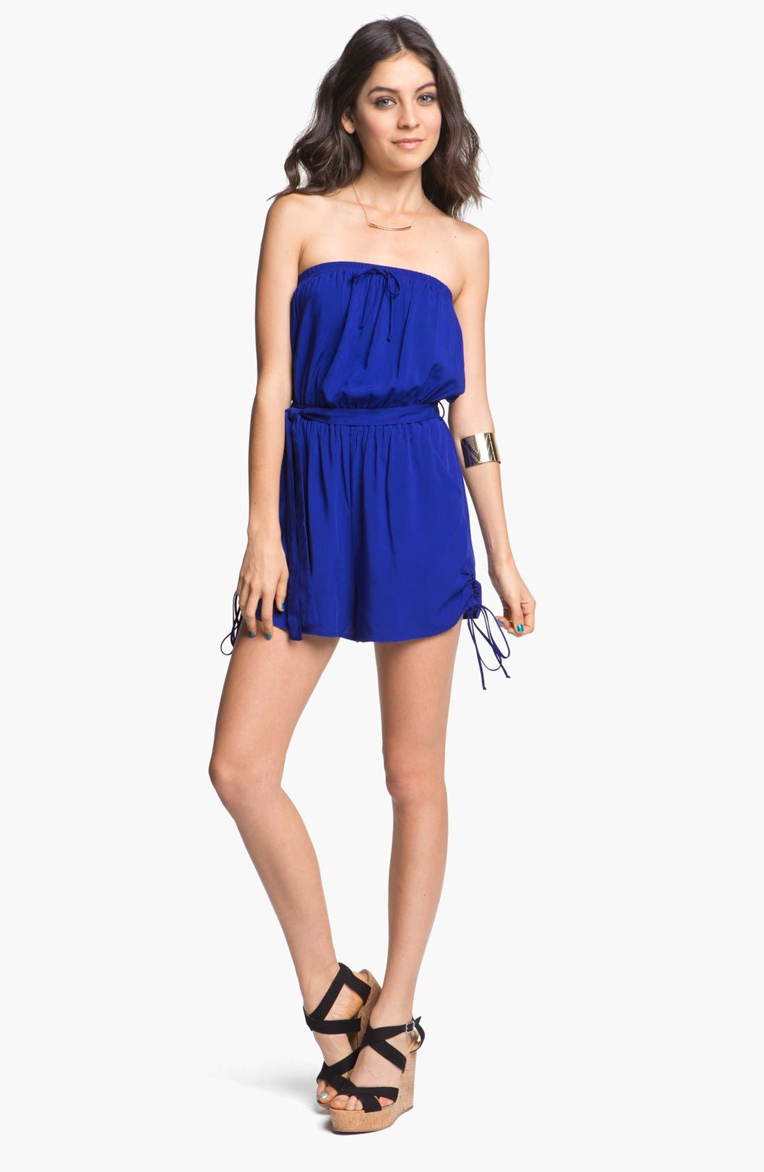 Alternate Image 1 Selected - Fire Ruffle Front Romper (Juniors) (Online Only)