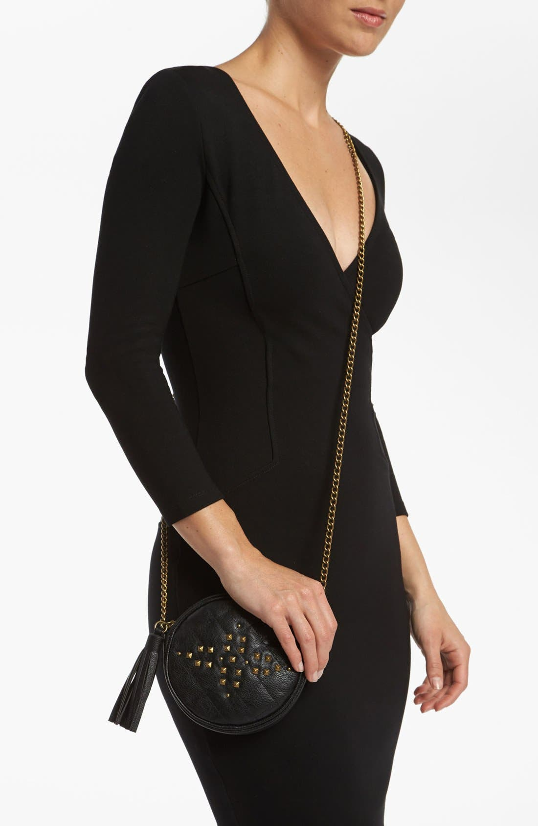 Alternate Image 2  - Lulu 'Cross Stud - Small' Quilted Faux Leather Crossbody Bag