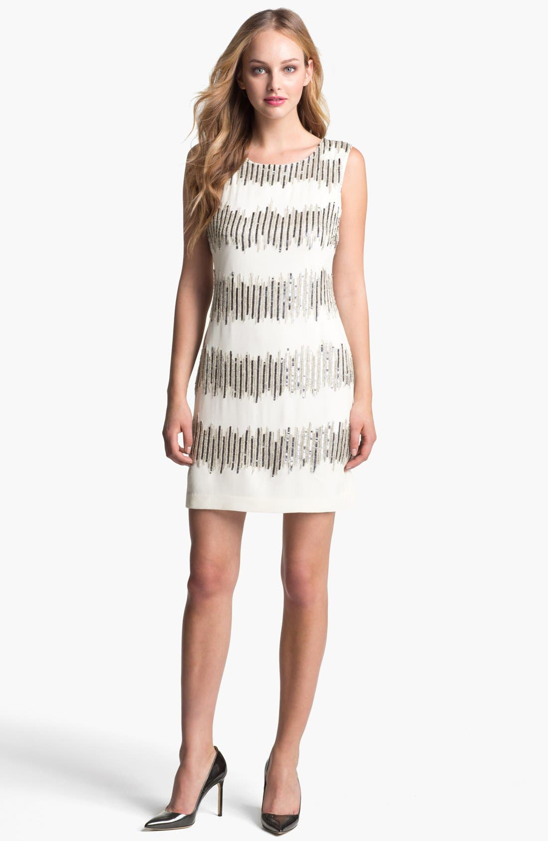 Main Image - Adrianna Papell Embellished Sleeveless Shift Dress