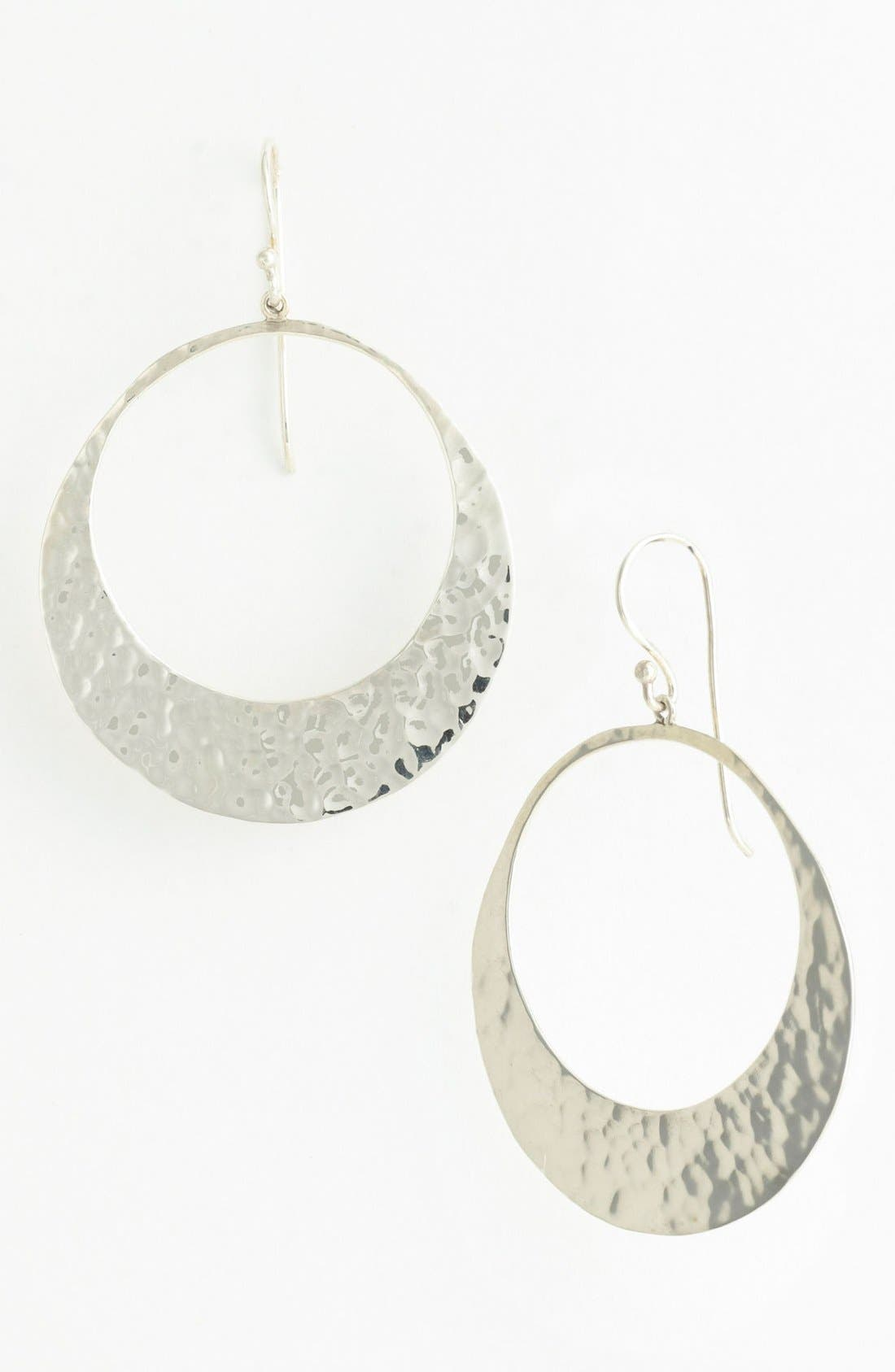 Main Image - Argento Vivo Hammered Crescent Frontal Hoop Earrings