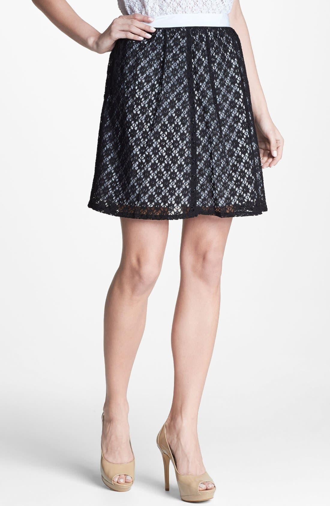 Main Image - Kensie Floral Lace Skirt