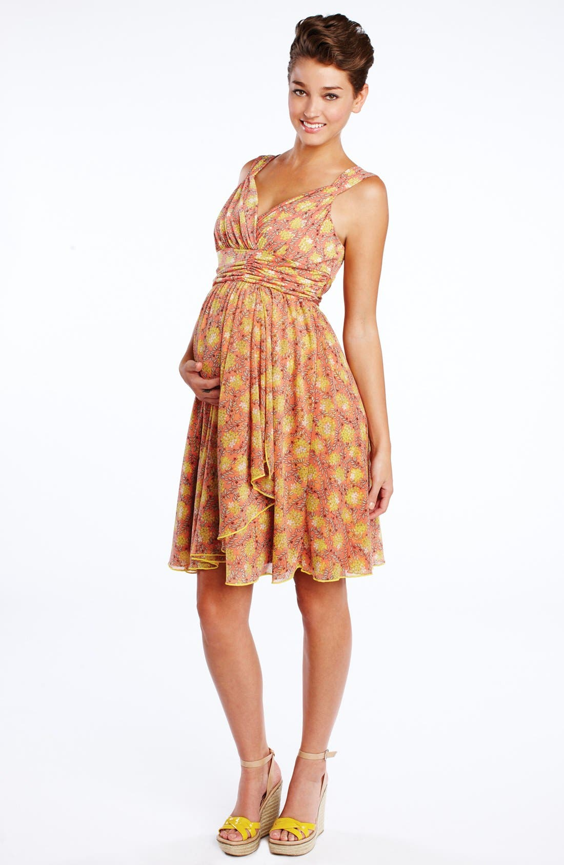 Main Image - Maternal America Ruffle Wrap Maternity Dress
