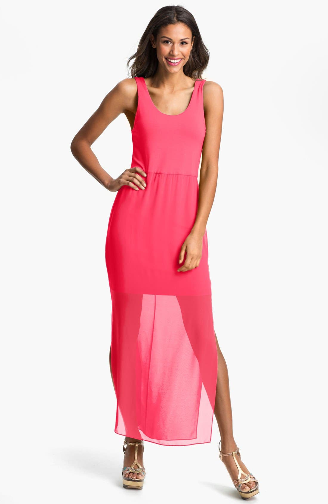Alternate Image 1 Selected - Vince Camuto Chiffon Overlay Tank Dress (Petite)