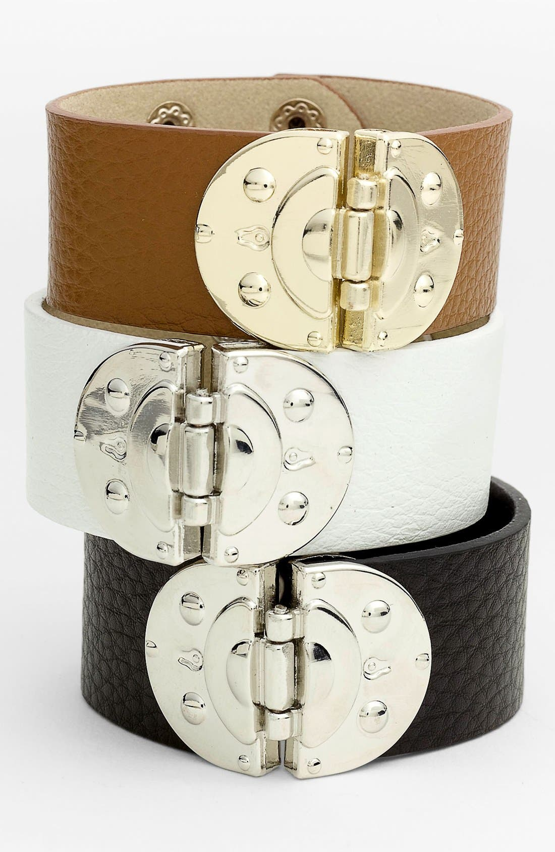 Alternate Image 1 Selected - Cara Hinged Leather Bracelet