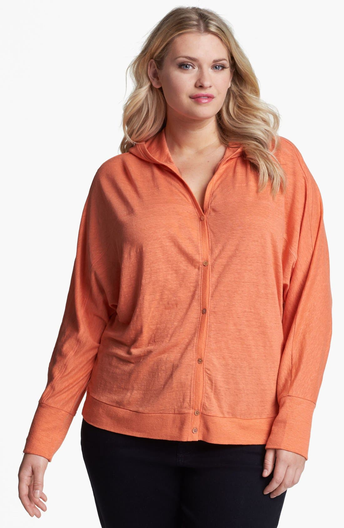 Alternate Image 1 Selected - Eileen Fisher Hooded Linen Cardigan (Plus Size)