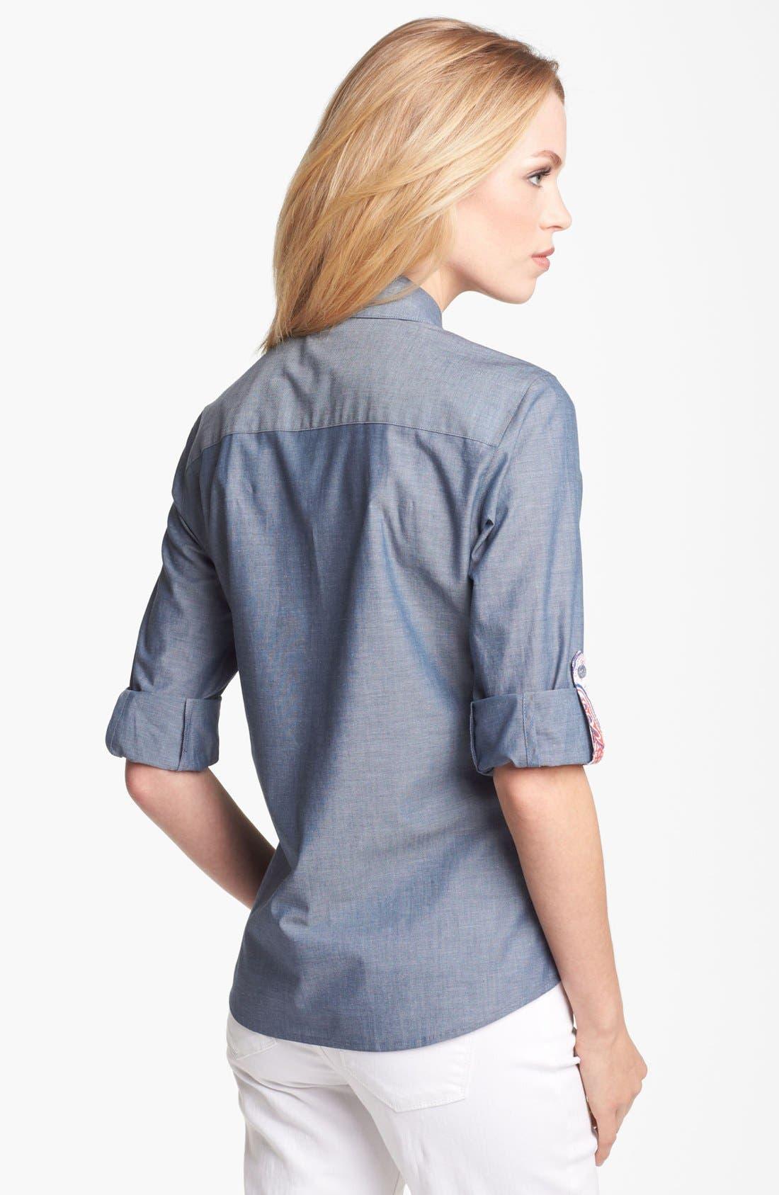 Alternate Image 2  - Foxcroft Chambray Shirt (Petite)