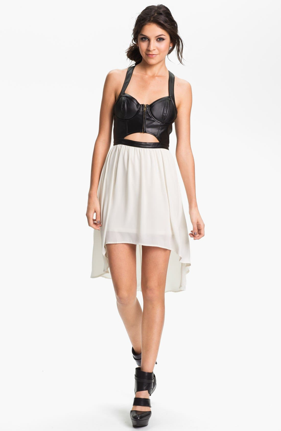 Alternate Image 1 Selected - Lush Clothing Cutout Faux Leather Bustier Dress (Juniors)
